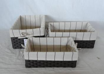 Home Storage Hot Sell Flat Paper Woven Over Metal Frame Wide Woven Rattan Baskets With Liner S/3