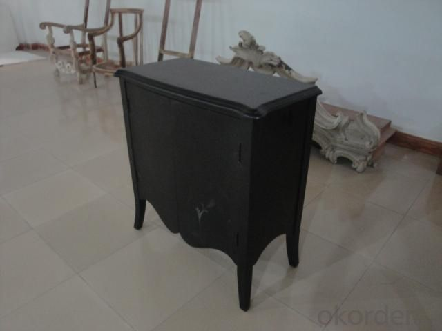 Home Furniture Classical Black Two Door Cabinet Nature Painting MDF And Birch Solid