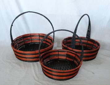 Stained Rattan Woven Over Metal Frame Baskets