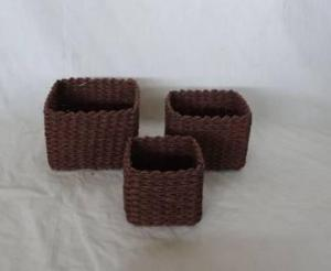 Home Storage Hot Sell Soft Woven Paper Rope Dark Brown Box S/3