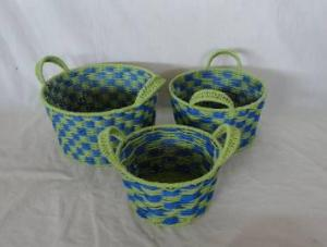 Home Storage Hot Sell Twisted Paper Woven Over Metal Frame Baskets With Handle S/3
