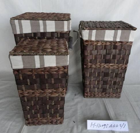 Home Storage Laundry Basket Woodchip And Waterhyacinth Woven Around Metal Frame Laundry Hamper With Liner S/3