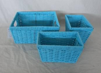 Home Storage Hot Sell Twisted Paper Woven Over Metal Frame Blue Baskets S/3