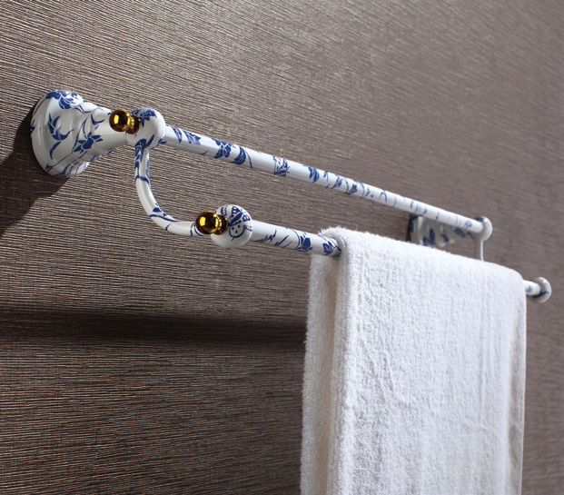 Hardware House Bathroom Accessories Blue And White  Porcelain Series Double Towel Bar