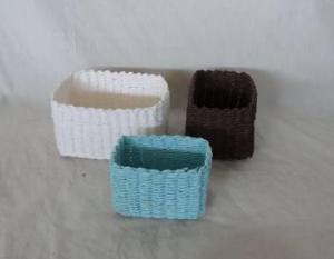 Home Storage Hot Sell Soft Woven Paper Rope White/Brown/Blue Box S/3