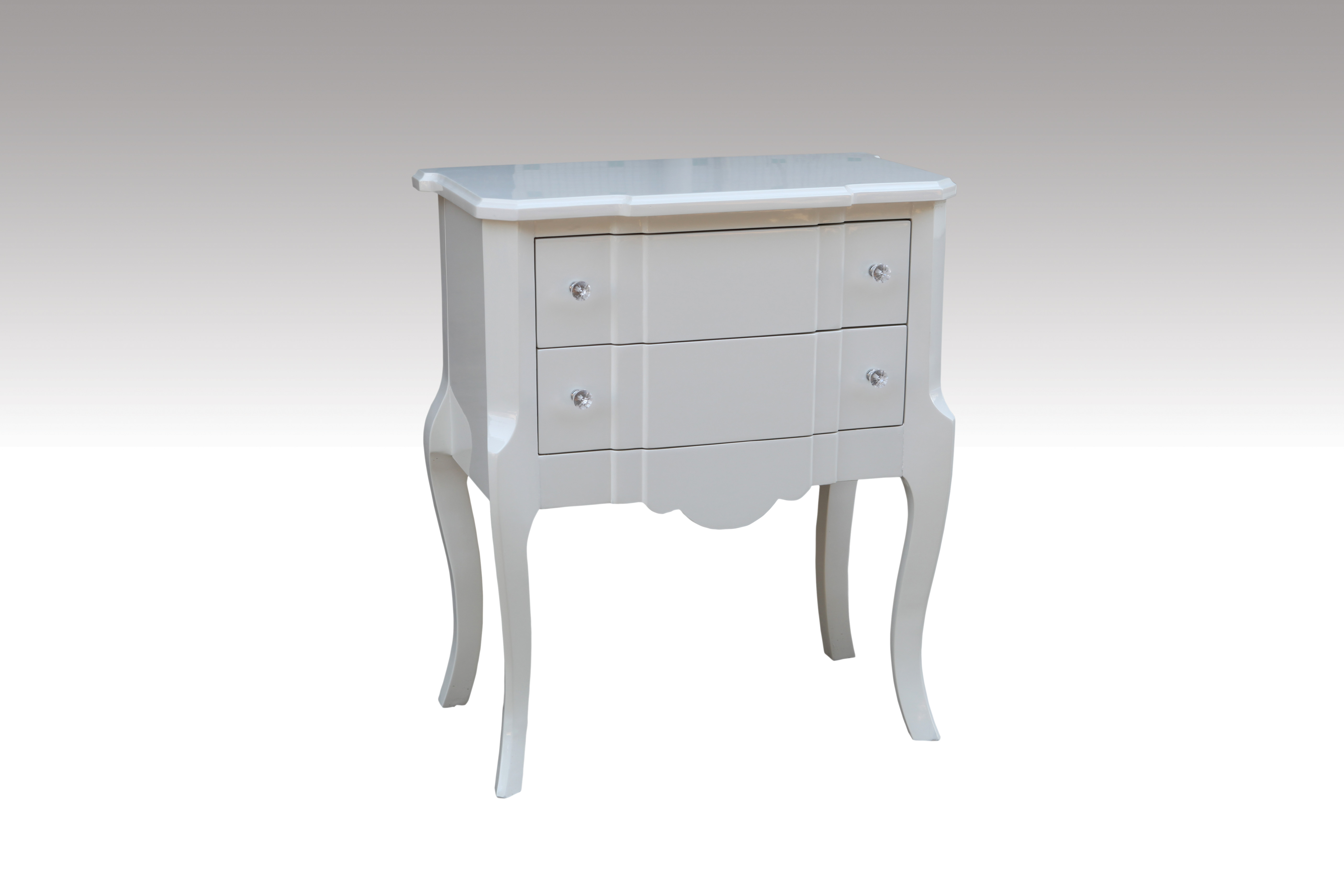 Home Furniture Classical White PU High Gloss Two Drawer Chest MDF And Birch Solid