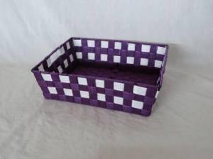 Home Storage Willow Basket Nylon Strap Woven Over Metal Frame Purple And White Basket