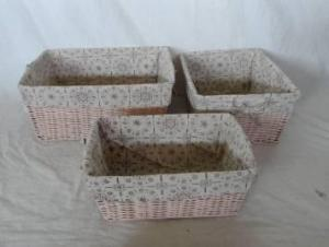 Home Storage Hot Sell Stained Maize Woven Over Metal Frame Nutral Baskets With Liner S/3
