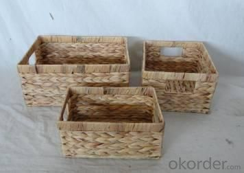 Home Storage Hot Sell Natural Waterhyacinth Woven Over Metal Frame Baskets S/3