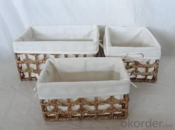 Home Storage Hot Sell Stained Maize Woven Over Metal Frame Hollow Baskets With Liner S/3