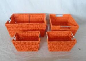 Home Storage Hot Sell Twsited Paper Woven Over Metal Frame Baskets With Stainless Tube Handles S/3