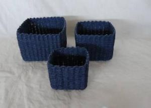 Home Storage Hot Sell Soft Woven Paper Rope Dark Color Box S/3