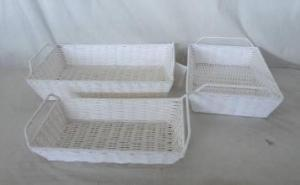 Home Storage Hot Sell Twisted Paper Woven Over Metal Frame Tray S/3