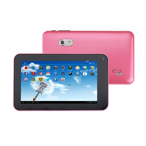 Android 4.2 Allwinner A23 Dual Core 7 Inch Tablet PC 512MB RAM 4GB 1.5GHz Wifi 800*480 Capacitive Screen Dual Camera Pink