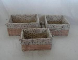 Home Storage Hot Sell Pp Tube Woven Over Metal Frame Light Brown Baskets With Liner S/3