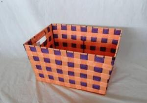 Home Storage Willow Basket Nylon Strap Woven Over Metal Frame Orange And Purple