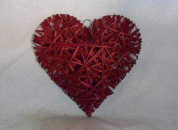 Home Decor Hot Selling Stained Red Willow-Woven Heart Deco