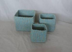 Home Storage Hot Sell Soft Woven  Paper Rope Colorful Box S/3