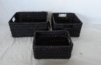 Home Storage Hot Sell Stained Maize Woven Over Metal Frame Baskets S/3