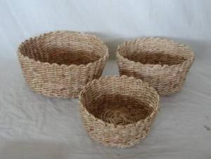 Home Storage Hot Sell Soft Woven Maize Round Box S/3
