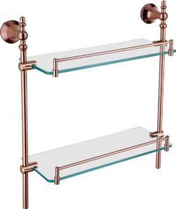 Hardware House Bathroom Accessories Rose Gold Series Double Glass Shelf