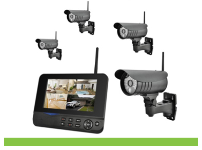 4CH Home Security Outdoor Digital Wireless Camera DVR System With 7Inch LCD Monitor 8107JM4