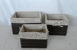 Home Storage Hot Sell Pp Tube Woven Over Metal Frame Baskets With Alphabet Pattern Liner S/3