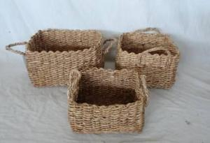 Home Storage Hot Sell Soft Woven Maize Brown Box With Handle S/3