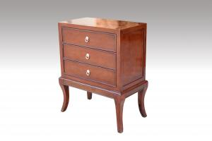 Home Furniture Classical Brown 3 Drawer Chest PU High Gloss MDF And Birch Solid
