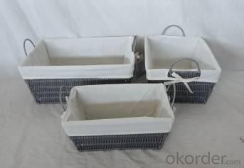 Home Storage Hot Sell Pp Tube Woven Over Metal Frame Gray Baskets With Liner S/3