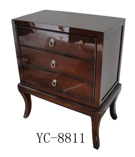 Home Furniture Classical Three Drawer Chest Brown PU High Gloss MDF And Birch Solid