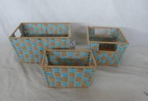 Home Storage Hot Sell Two-Tone Twisted Paper Woven Over Metal Frame Baskets S/3