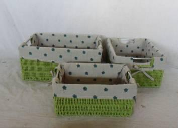 Home Storage Willow Basket Paper Twisted Woven Over Metal Frame Green Baskets With Liner S/3