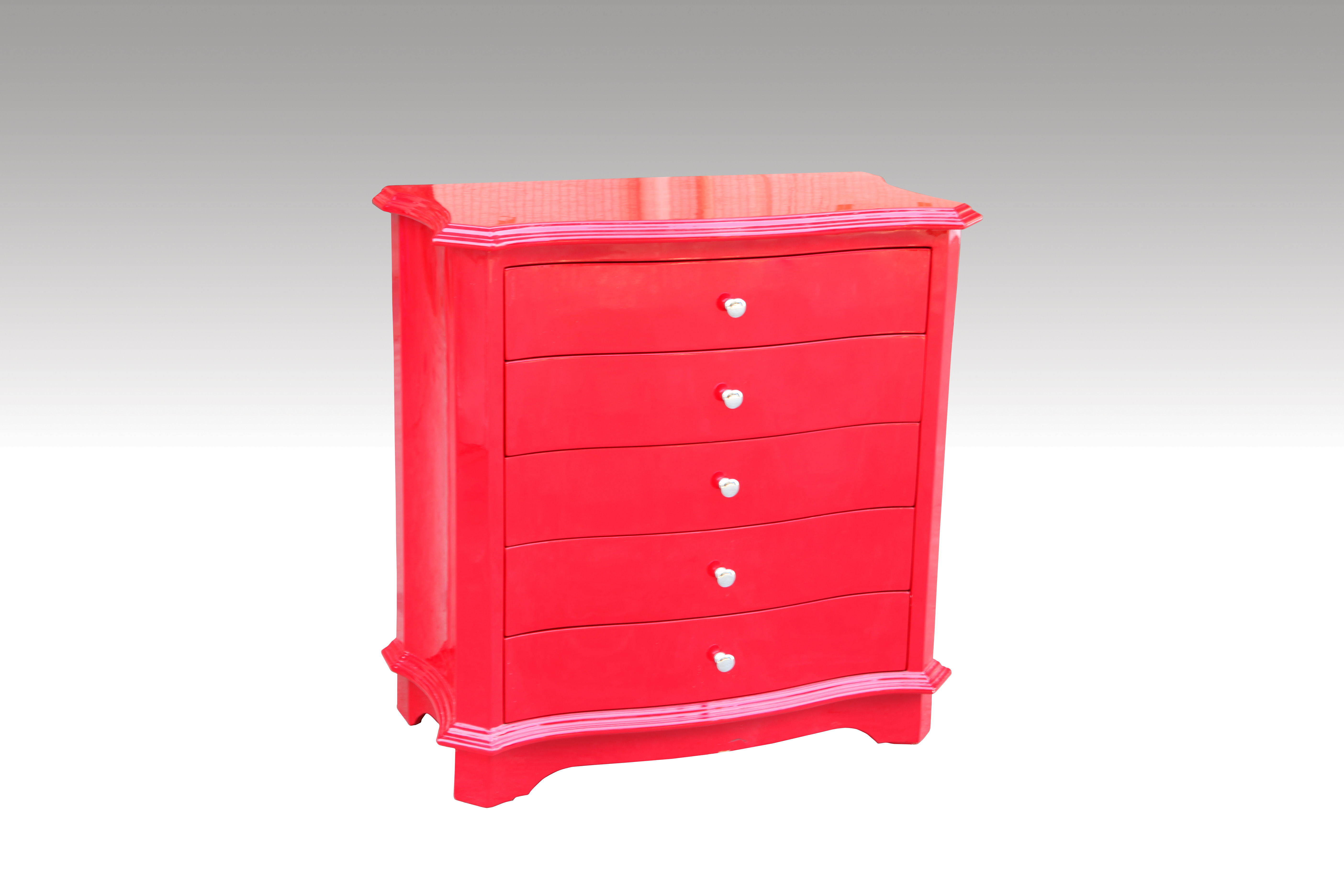 Home Furniture Classical 5 Drawer Cabinet Red PU High Gloss MDF And Birch Solid