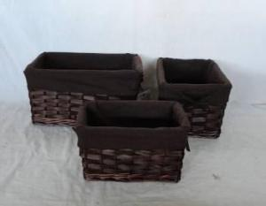 Home Storage Willow Basket Stained Willow And Woodchip Baskets With Liner S/3
