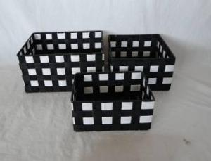 Home Storage Willow Basket Nylon Strap Woven Over Metal Frame Baskets S/3