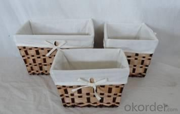 Home Storage Hot Sell Stained Woodchip Woven Over Baskets With Liner S/3