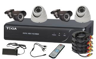4CH Home Security System DVR KITS with 2pcs  Weatherproof cameras 2pcs Dome cameras S-7