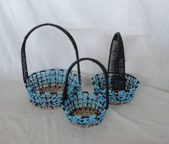 Home Storage Hot Sell Twisted Paper Woven Over Metal Frame Blue Baskets With Handle S/3