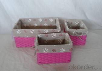 Home Storage Hot Sell Flat Paper Woven Over Metal Frame With Liner Baskets S/3