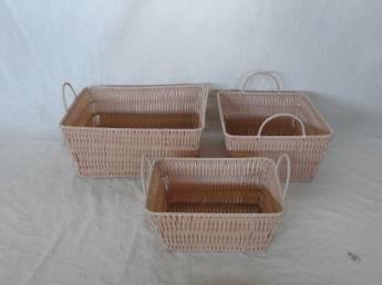 Home Storage Hot Sell Pp Tube Woven Over Metal Frame Baskets S/3