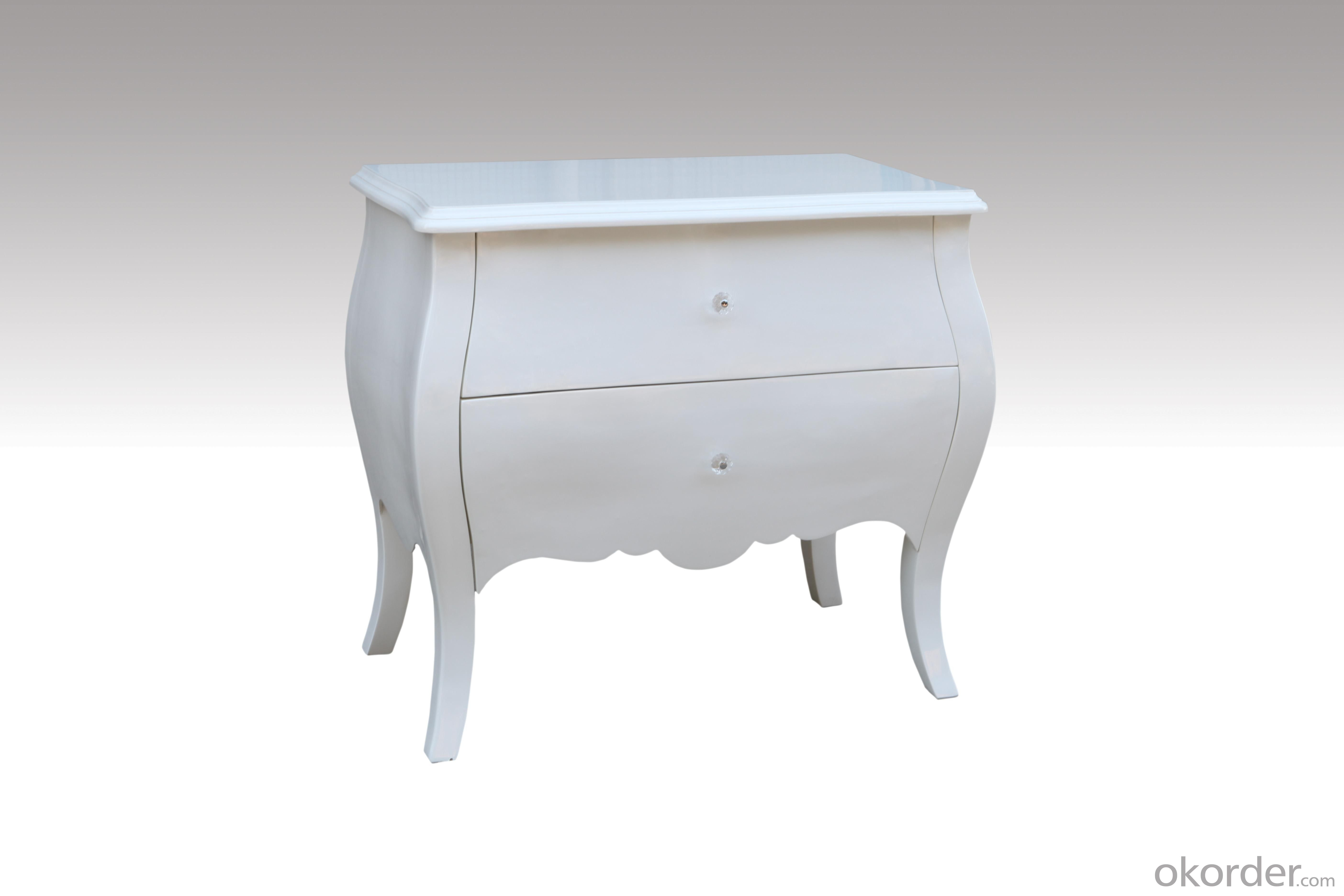 Home Furniture Classical White 2 Drawer Chest PU High Gloss MDF And Birch Solid