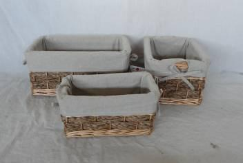 Home Storage Willow Basket Mixed Willow,Seagrass,Cattail Braid,Woodchip Baskets With Gray Liner S/3
