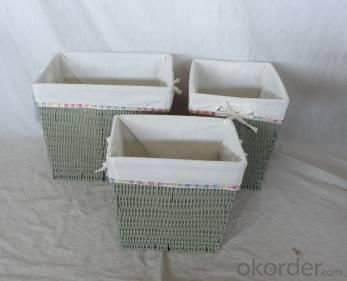 Home Storage Hot Sell Pp Tube Woven Over Metal Frame Baskets With White Liner S/3