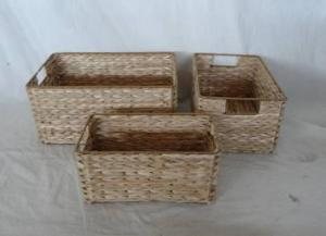 Home Storage Hot Sell Natural Cattail Woven Over Metal Frame Baskets S/3