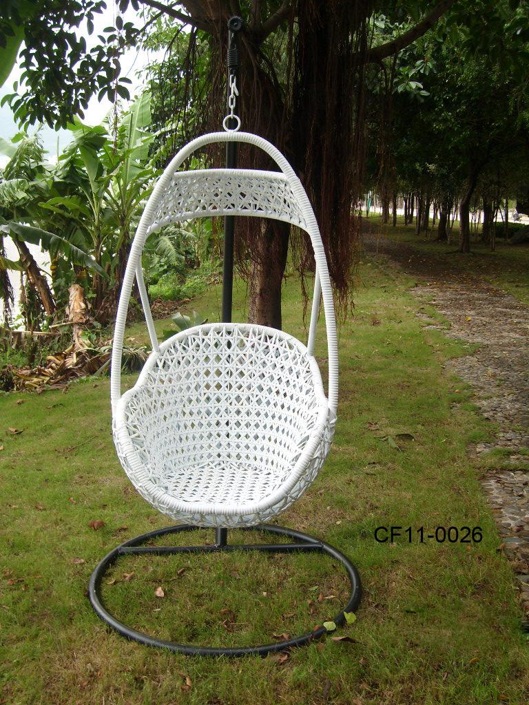 White Rattan Simple Modern Outdoor Garden Furniture Swing Basket