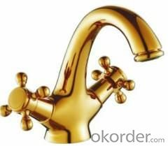 Single Handle Bathroom Faucet Art Gold Color Basin Mixer