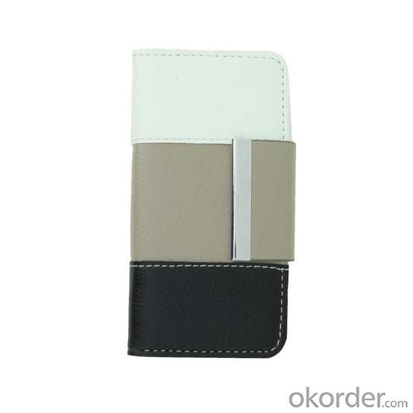 Wallet Pouch Lichee Pattern PU Leather Case Cover for iPhone4/4S Colourful