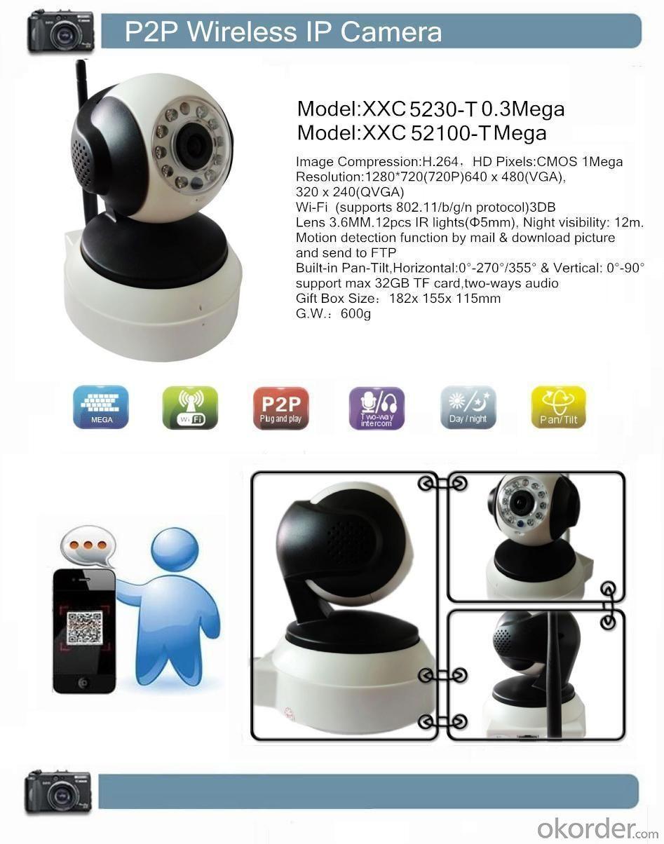 H.264 720P CCTV IR 1.0Mega HD P2P Wireless IP Camera XXC5210-T White