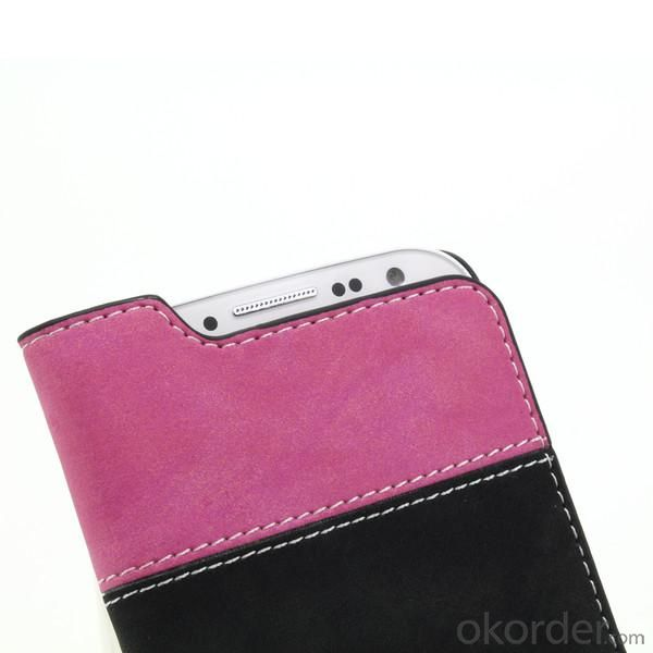 For Samsung Galaxy S4 I9500 Hot Selling Contrast Multi Color Leather Cover Wallet Flip Case With Card Slot Hot Pink